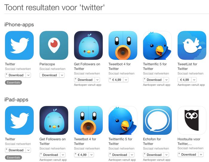 Twitter zoeken in de App Store