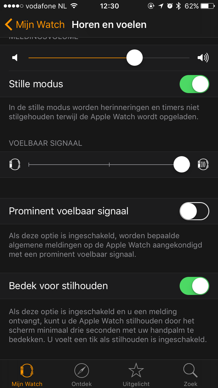 Apple Watch stilhouden met de palm van je hand.