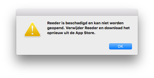Reeder beschadigd Mac App Store