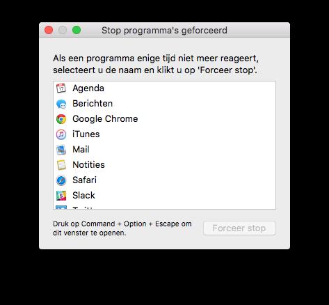 Forceer stop op de Mac.