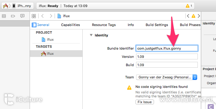 Xcode sideloading: bundle identifier uniek maken