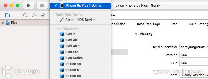 Xcode iDevice selecteren