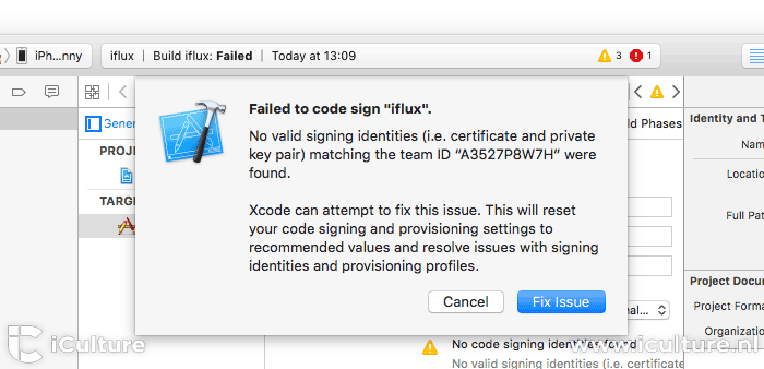 Xcode: fix issue