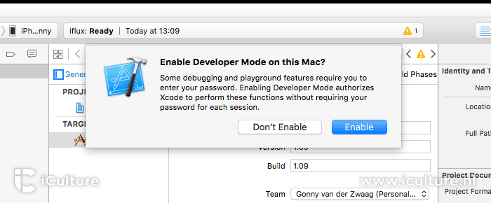 Xcode: developer mode inschakelen