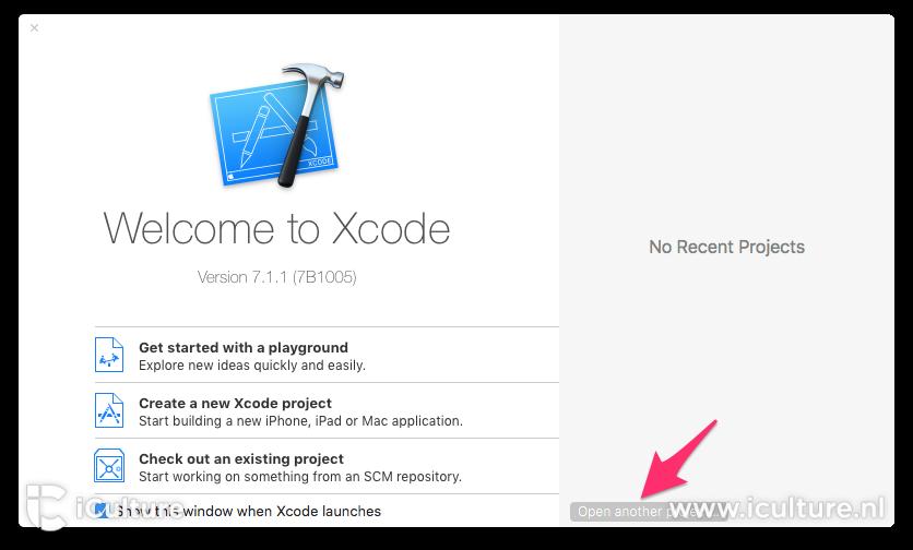 Xcode project openen