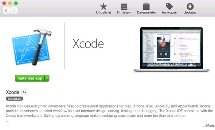 Xcode installeren