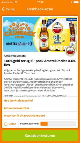 Scoupy: voorbeeld van Amstel cashback