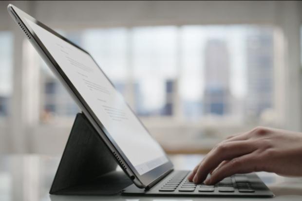 iPad Pro: typen op het toetsenbord.
