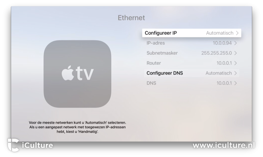 Apple TV IP-adres en DNS aanpassen.