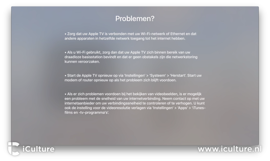 Apple TV problemen oplossen.