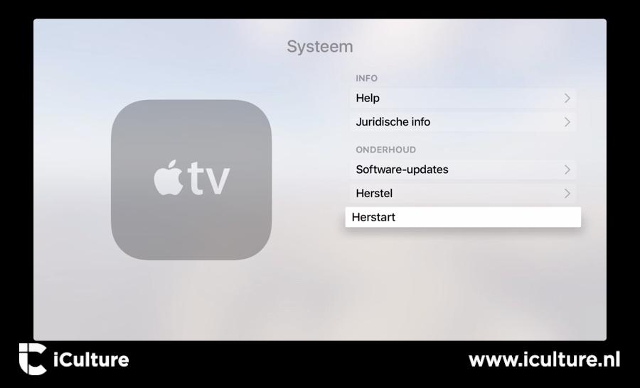 Vierde generatie Apple TV herstarten.