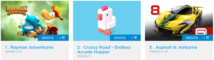 Toplijsten gratis apps Nederland