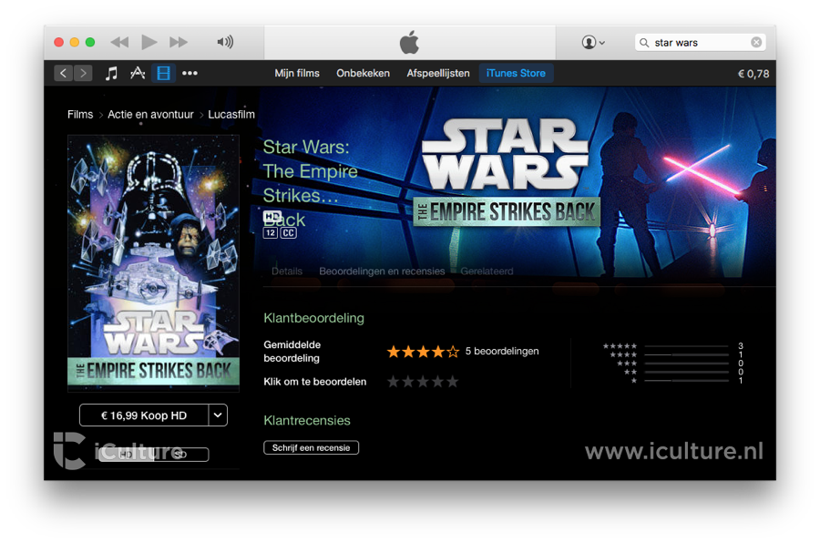 Films beoordelen in iTunes