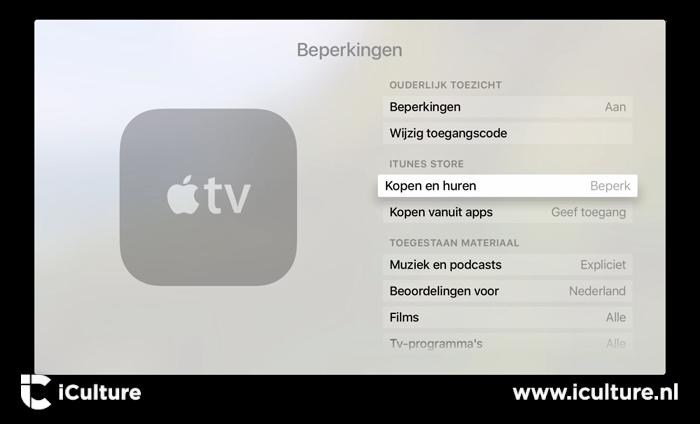 Beperkingen instellen voor aankopen op Apple TV.