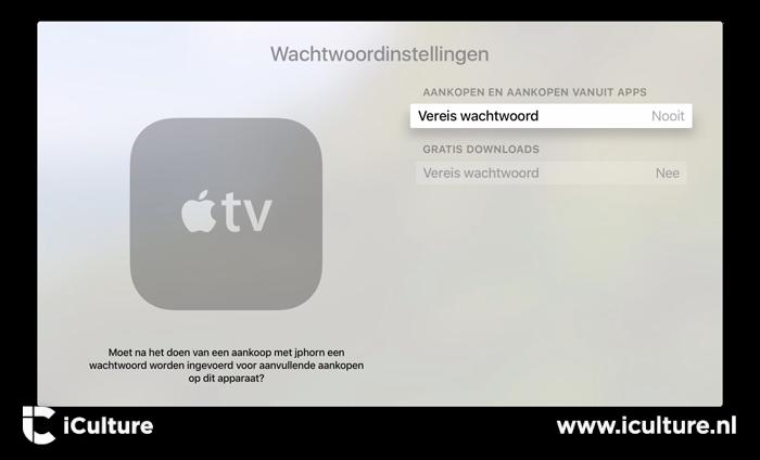 Wachtwoord vereist bij aankopen op Apple TV