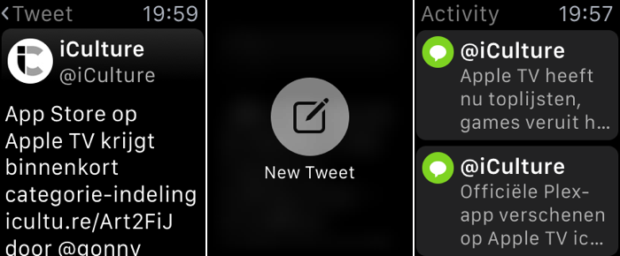 Tweetbot screenshots op Apple Watch