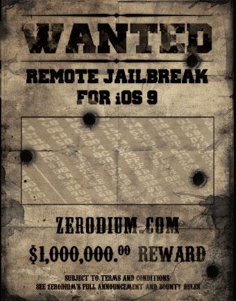 Wanted-poster van Zerodium voor een jailbreak-methode