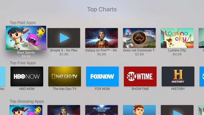 Toplijsten App Store op Apple TV