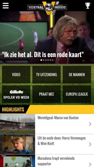 Voetbal Inside-app op iPhone.