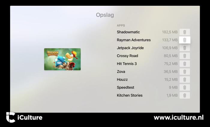 Apps verwijderen van Apple TV
