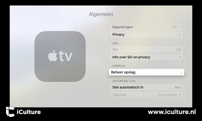 Beheer opslag op Apple TV