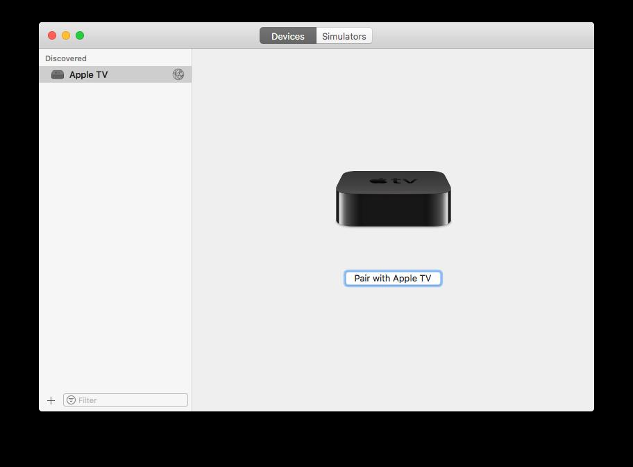 Apple TV 4K aan Xcode koppelen.