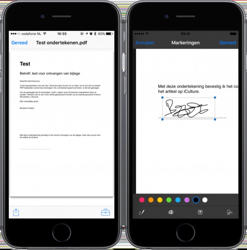 Handtekening plaatsen in PDF op iPhone.