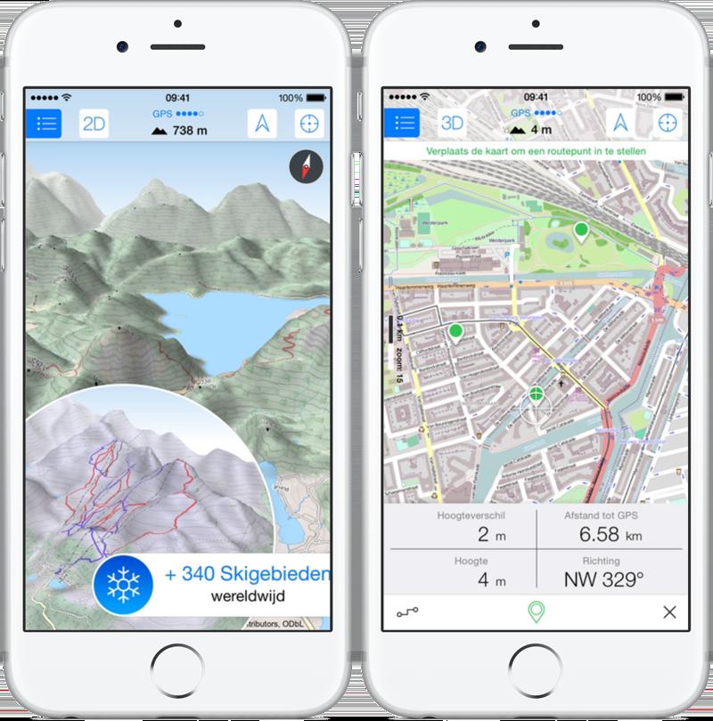 Maps 3D voor wandelen en skiën.