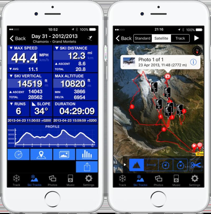 Ski Tracks geeft snelheid en ski-kaart weer.
