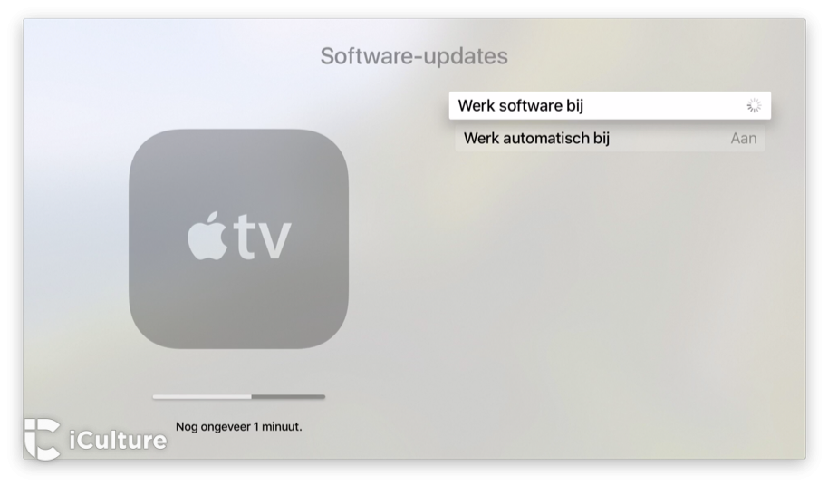 Apple TV-downloaden met progressiebalk.