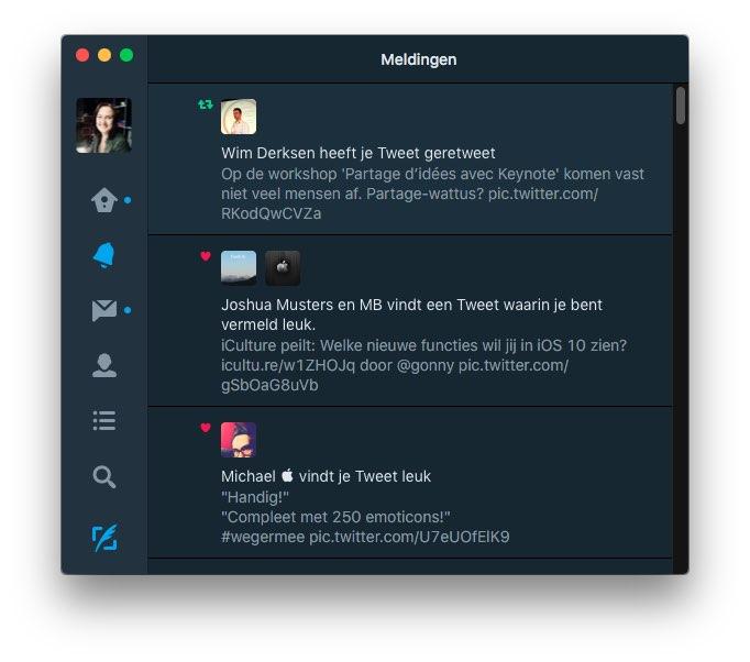 Twitter voor Mac donkere modus
