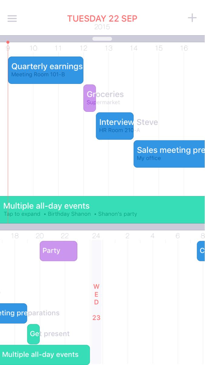 NOW calendar met tijdlijnweergave.