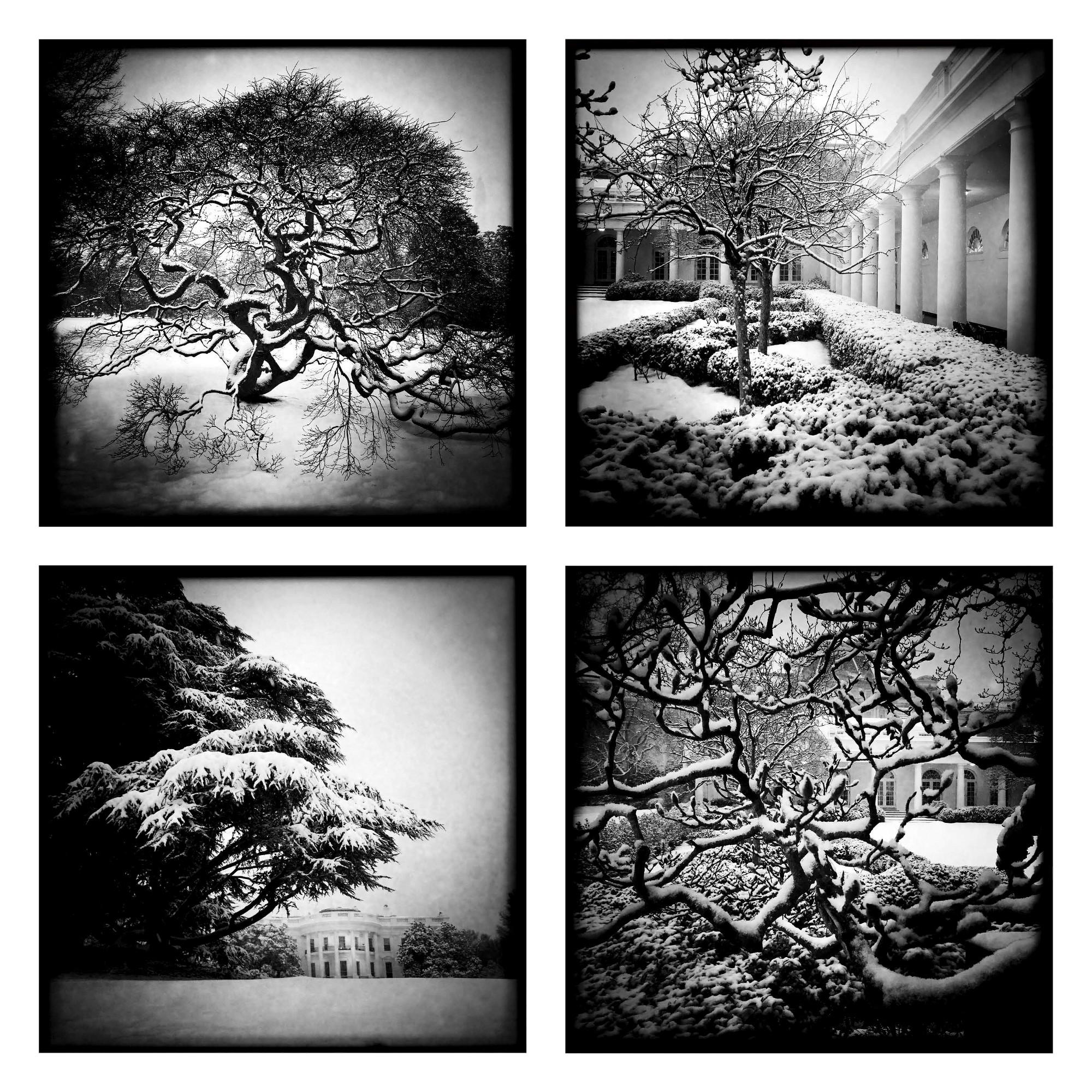 Witte Huis in de winter, bewerkt met Hipstamatic.