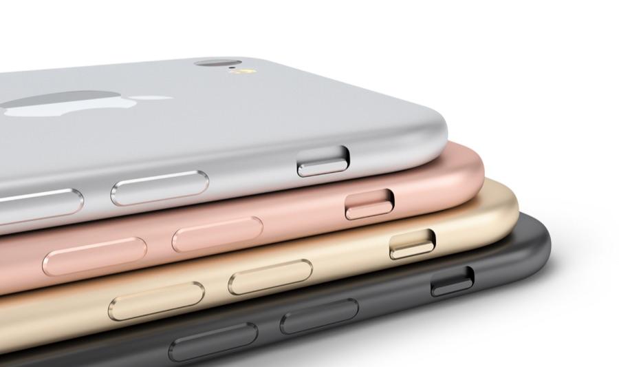 iPhone 7 concept in verschillende kleuren.