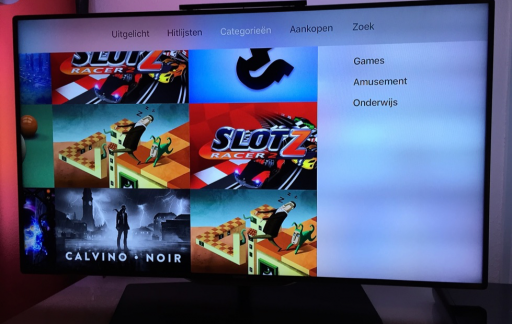 De Apple TV laat nu in Nederland categorieën zien.