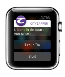 CityZapper op de Apple Watch met een pushbericht.