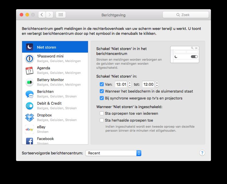 Niet storen permanent inschakelen op de Mac.