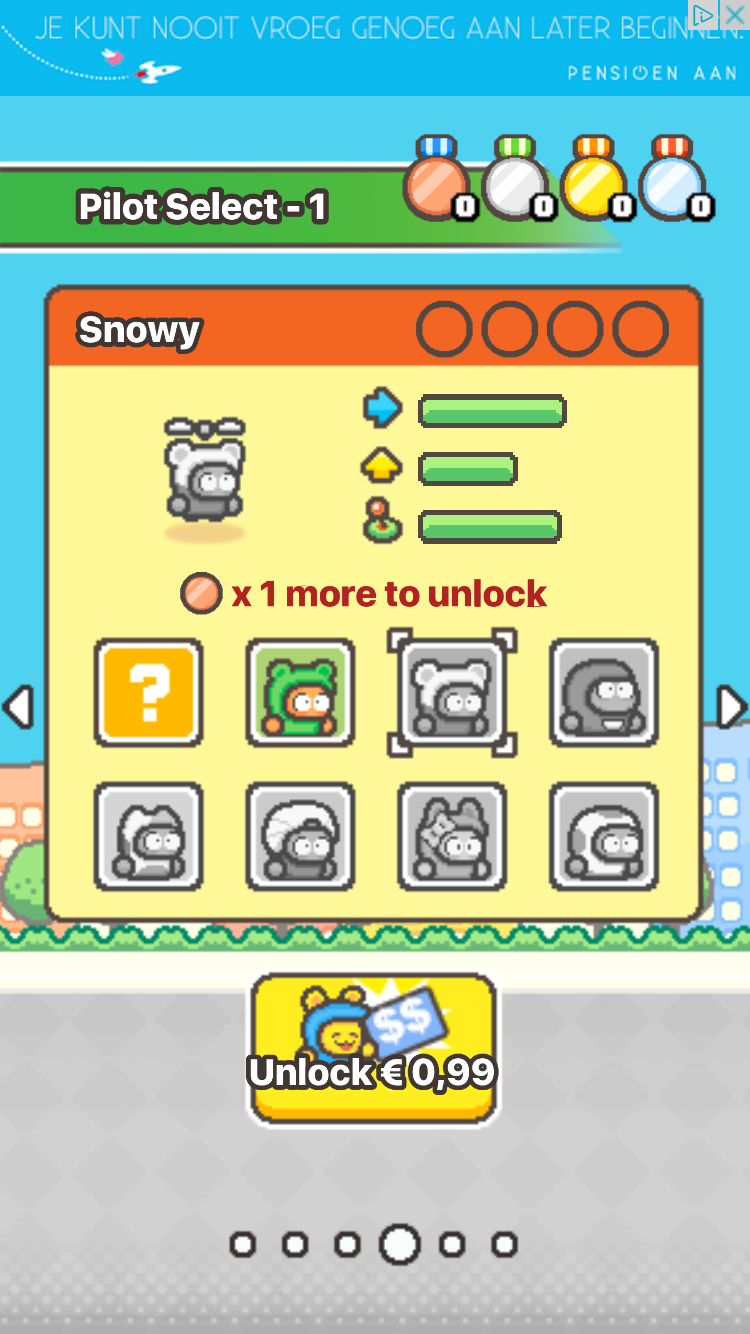 Swing Copters 2 met personages