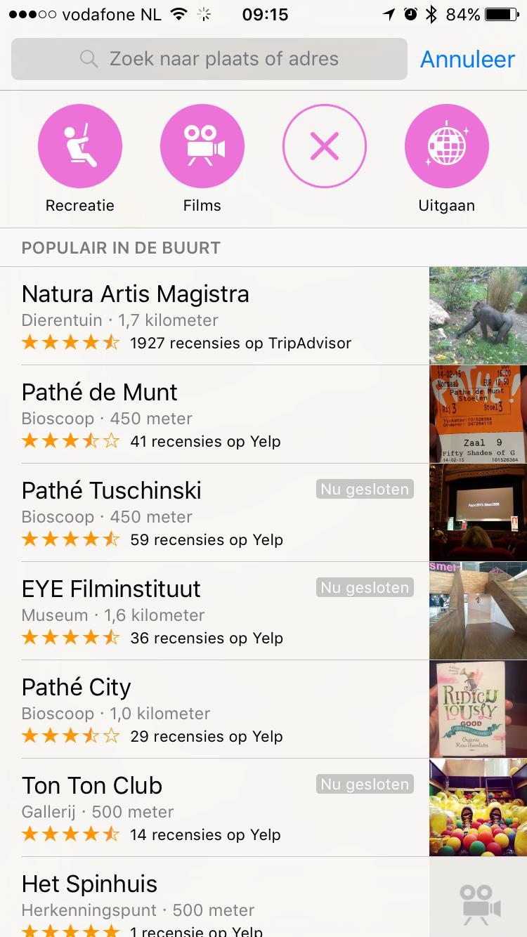Apple Maps locaties in categorie plezier.