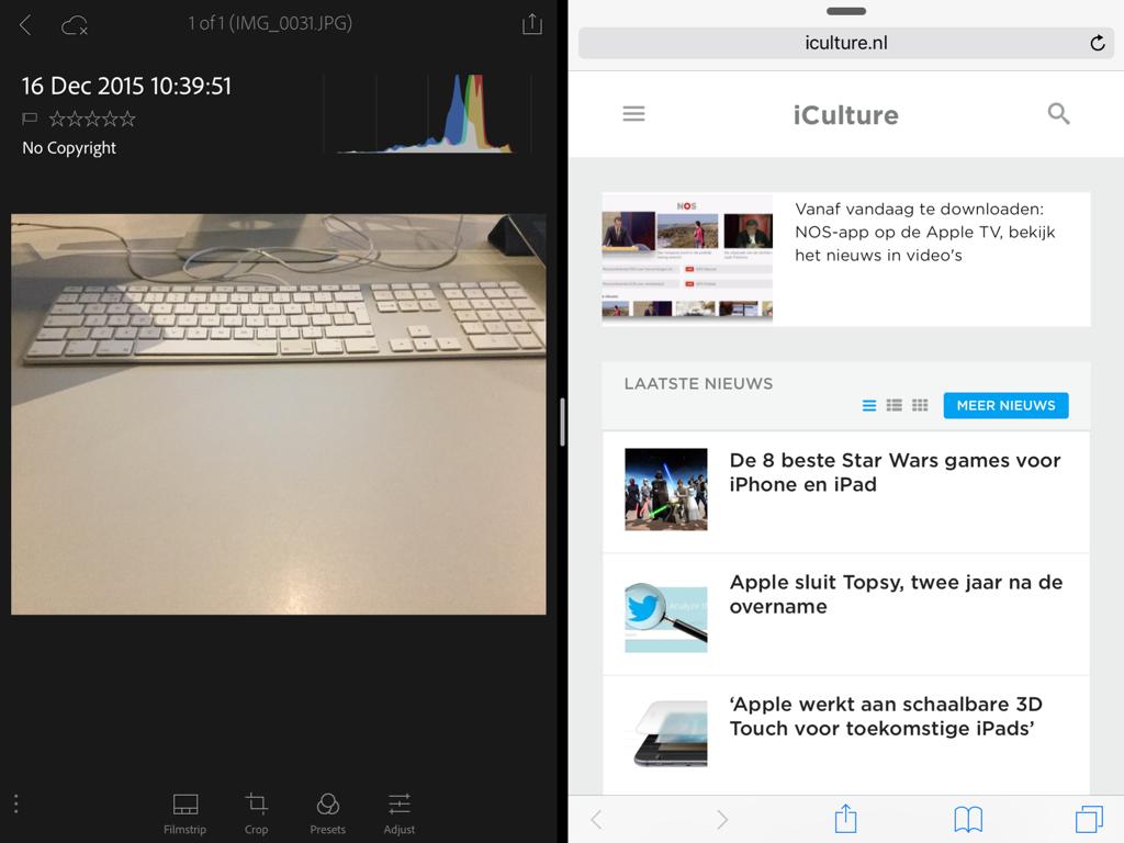 Adobe Photoshop Lightroom in Split View op de iPad.