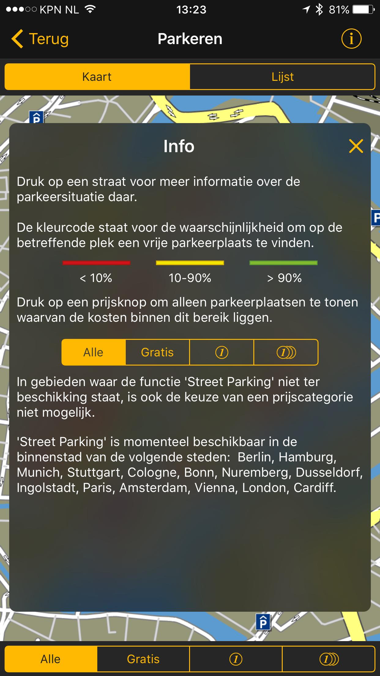 Filteropties voor parkeren in de straat met Navigon