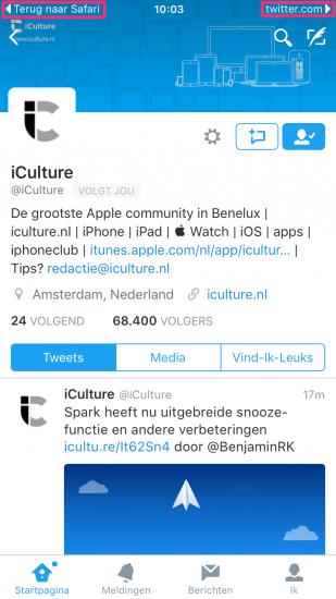 Universal Link naar Twitter met opties voor doorsturen.