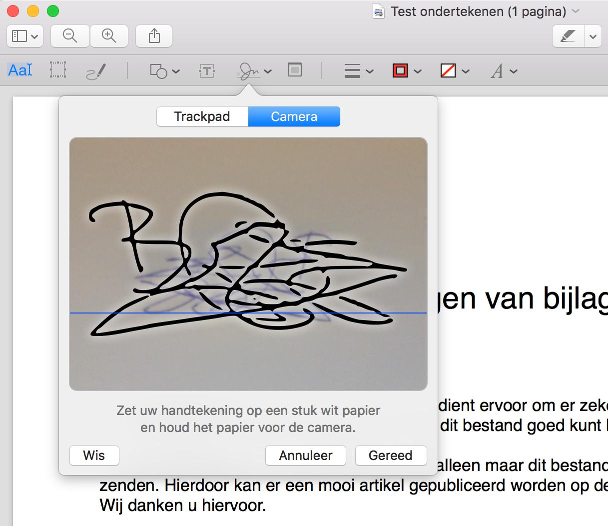 Handtekening maken op de Mac.