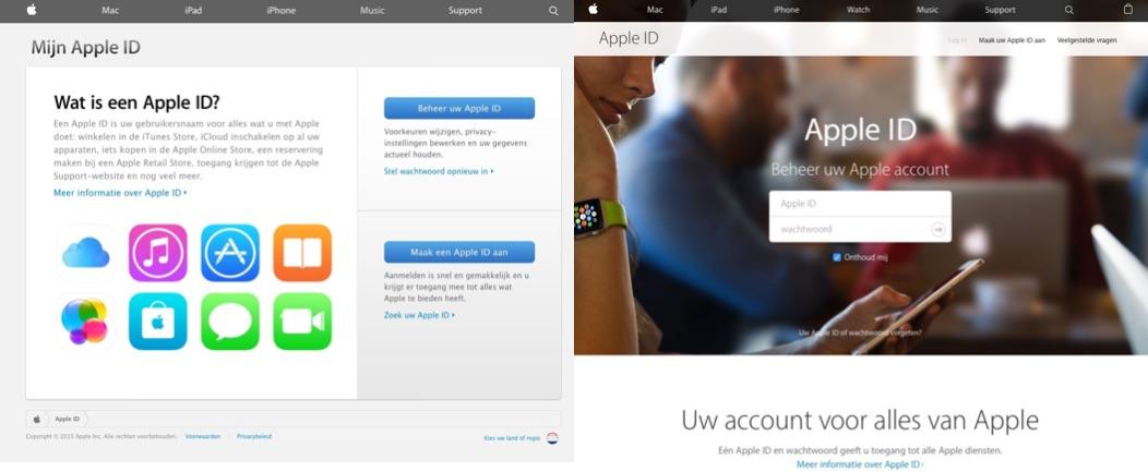 Apple ID-website vergeleken: oud vs. nieuw.