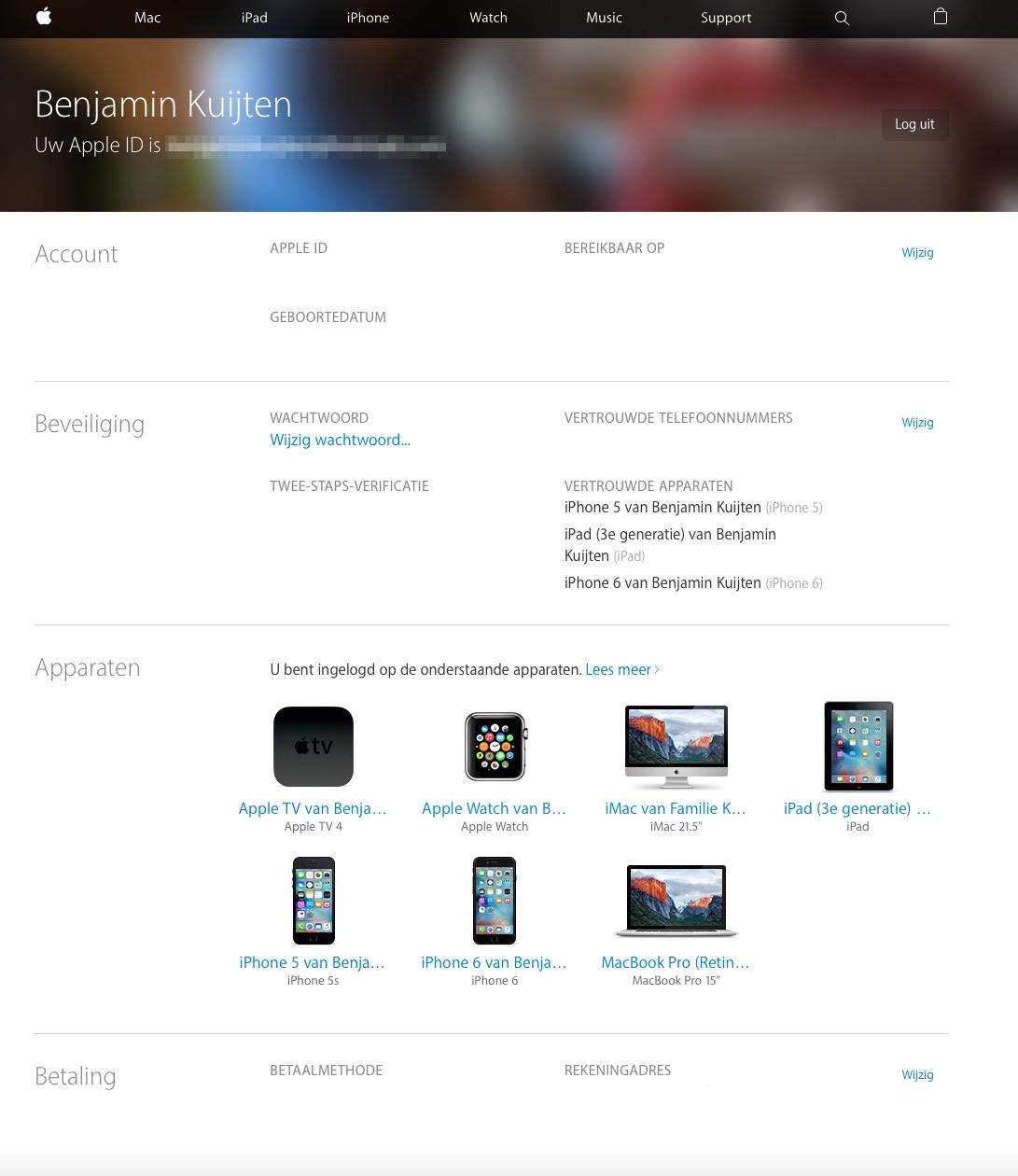 Een overzicht van je gegevens op de Apple ID-website.
