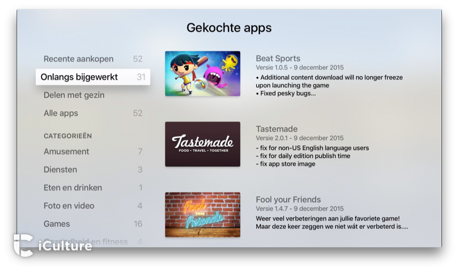 Apple TV-apps in onlangs bijgewerkt.