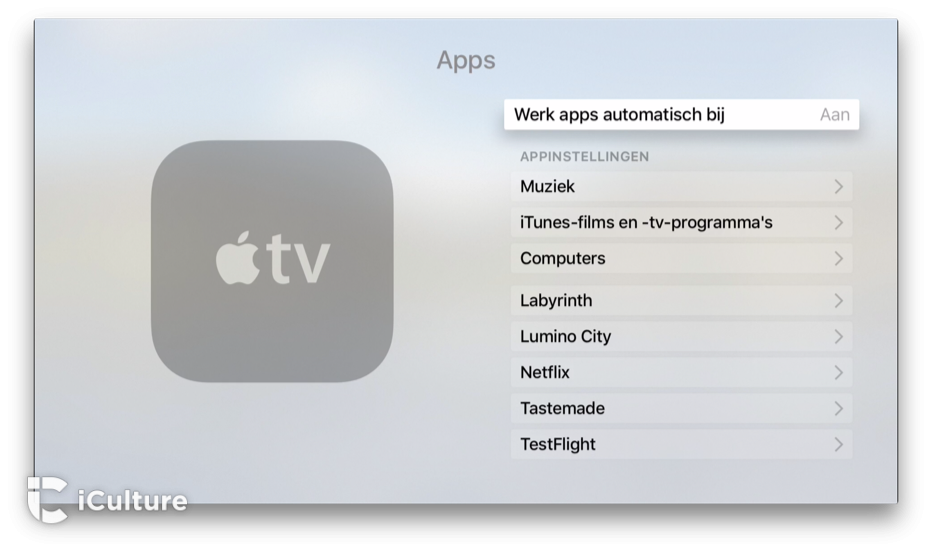 Apple TV-apps automatisch laten updaten.
