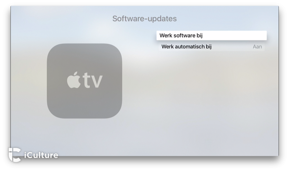 Apple TV updaten via instellingen.