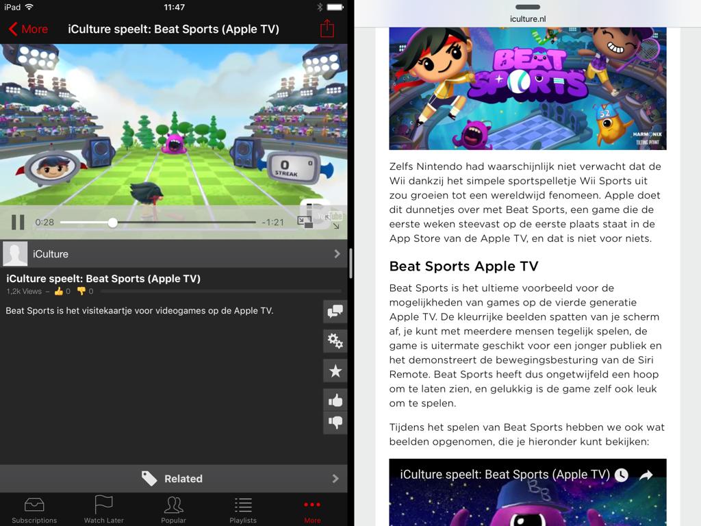 YouTube filmpjes kijken via YouPlayer op de iPad .