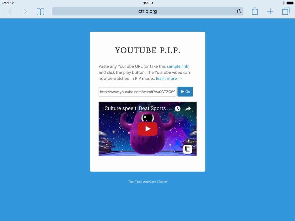 YouTube filmpjes kijken op de iPad via webpagina voor Picture in Picture.